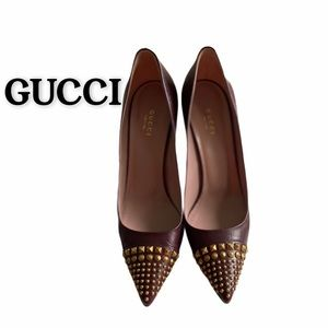 GUCCI Burgundy Leather Studded Coline Heels